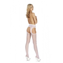 Pančuchy s otvormi Suspender Tights Open White