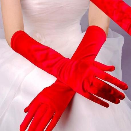 Saténové rukavice Satin Red Gloves