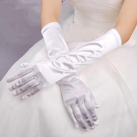 Saténové rukavice Satin White Gloves
