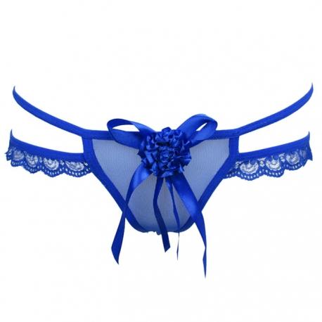 Modré dámske tanga nohavičky s kvietkom a mašličkou.
