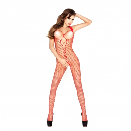Sieťovaný overal Fishnet Catsuit BS014 Red