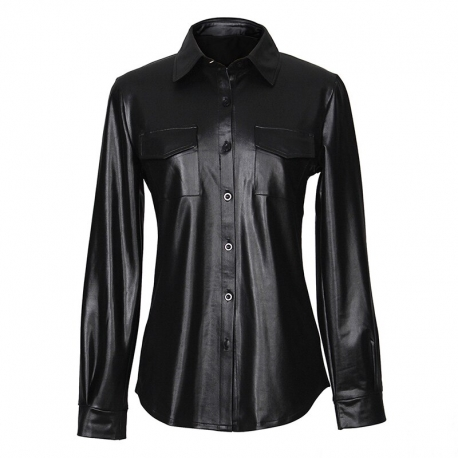 Wet-look Blouse Black G086 Dámska košeľa Luxury