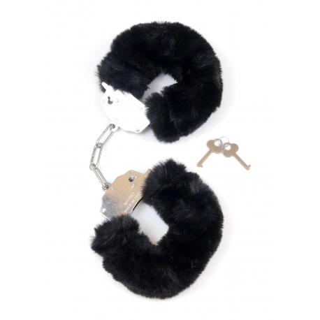 Furry Cuffs Black Železné putá s kožušinkou