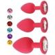 Malý silikónový análny kolík Jeweled Silicone Anal Plug Red