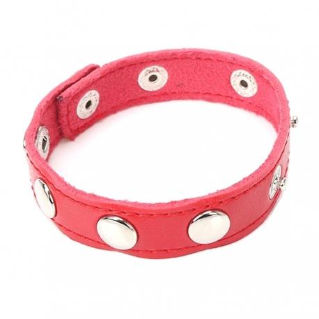 Kožený krúžok na penis Red Leather Penis Ring