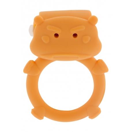 Vibračný silikónový krúžok na penis Happy Hippo C-Ring