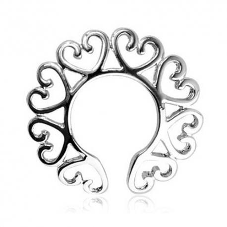 Ozdoby na bradavky Silver Heart Steel Nipple Rings
