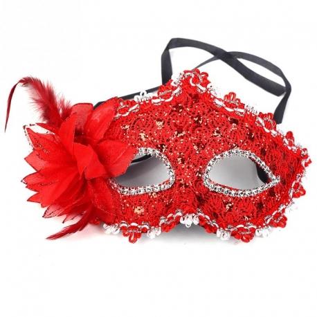 Červená škraboška Masquerade Venetian Mask Red