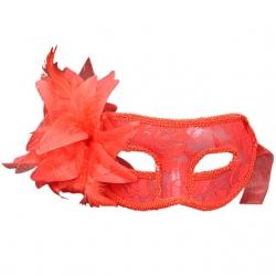 Červená škraboška Masquerade Venetian Lace Mask Red