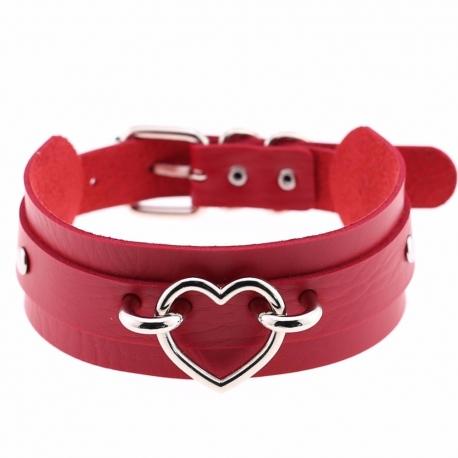 Kožený obojok Red Collar With Heart