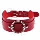 Kožený obojok s krúžkom Red Collar With Ring