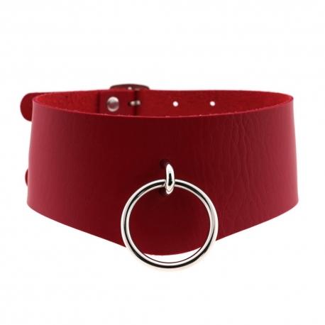 Kožený obojok na dvojité zapínanie Double Strap Collar Red