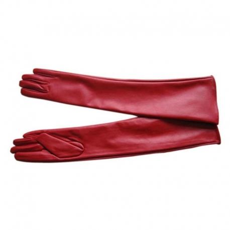 Dlhé kožené rukavice GLR1 Red