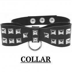 Obojok kožený Studded Bow Tie Collar