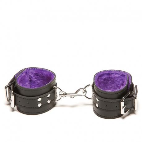 Kožené putá na ruky Passion Fur Wrist Cuffs Purple