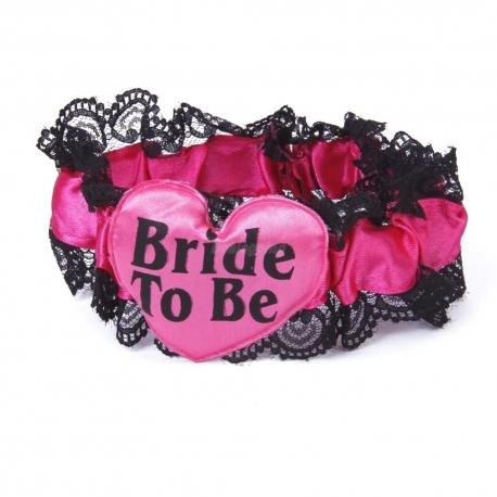 Podväzok pre nevestu Bride To Be Pink & Black